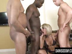 White blonde slutwife hardcore anal interracial gangbang