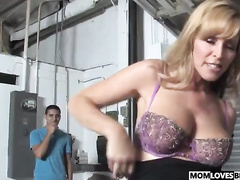 Curvy mommy Nicole Moore fucks a BBC in front of her son