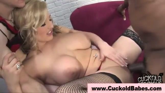 Blonde wife makes her cuck suck bbc's cum
