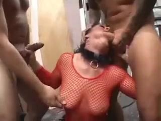 Brunette mature mom in fishnets hard threesome