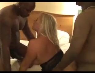 Gorgeous white blonde milf gets bbc gangbanged