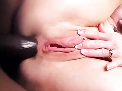 White blonde milf with pierced nipples rides BBC