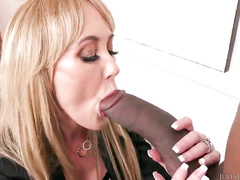 Perfect milf with big tits in lingerie goes black