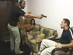Brazilian wife fucked by burglar in front of tied cuckold husband