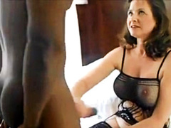 50 yo wife in lingerie vs two black bulls